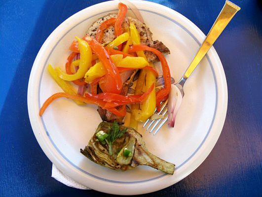Grilled Pork Chops with Peppers and Capers