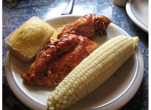 Neely's Barbecue Chicken, with corn bread and corn-on-the-cob.