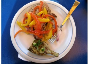 A good companion to the grilled pork chops and peppers dish is grilled artichokes (recipe follows).