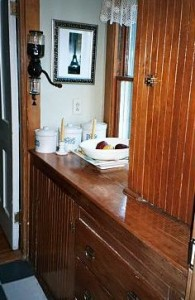 The original douglas fir cabinets in the butler's pantry were an inspiration for the new kitchen cabinets that were made to look old.