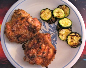 Any grilled green vegetable, such as zucchini, makes a good side dish.
