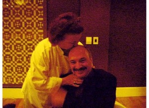 Boston Chef Lydia Shire kissed RootsLiving Founder Mark Micheli on his bald (no roots to worry about) head. (Photo by Patricia Micheli)