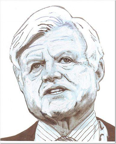 Portrait of Senator Ted Kennedy, by Andover artist Joseph Gemellaro.