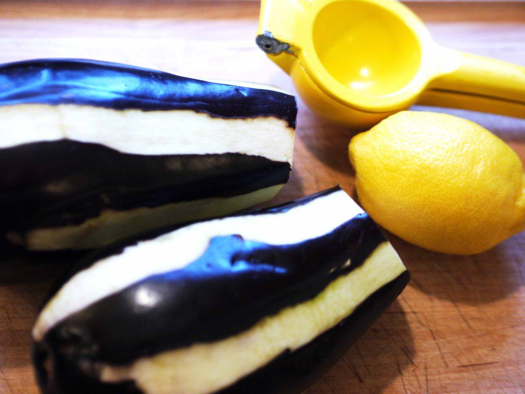 Eggplant peeled to make stripes
