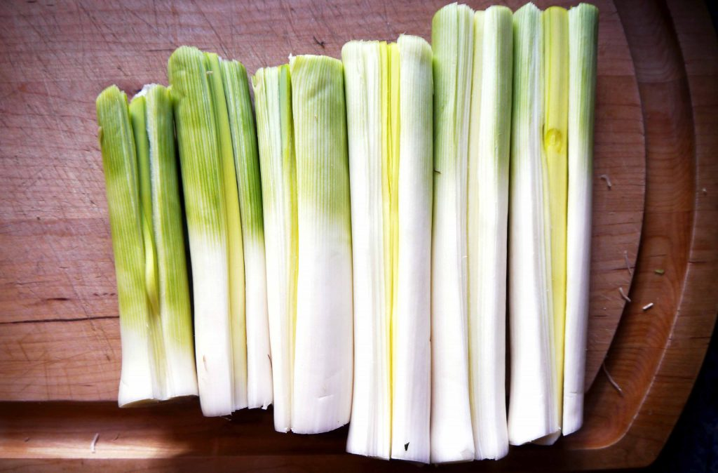 Leeks, sliced down the middle.