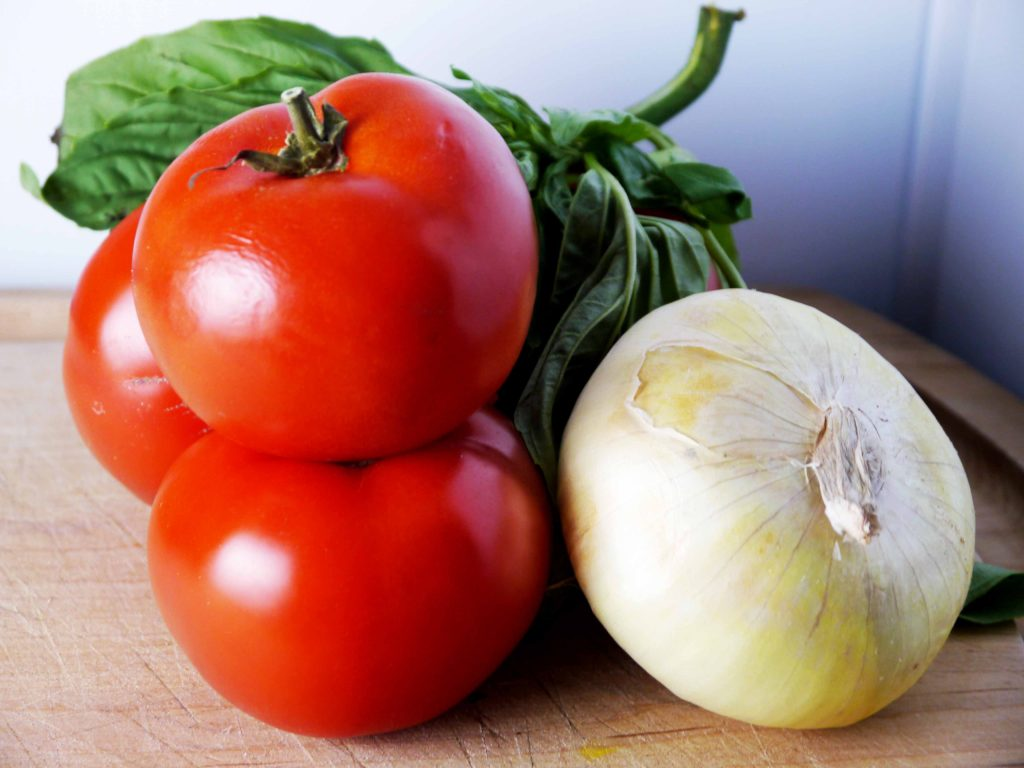Tomatoes, onion, and basil