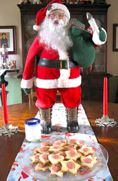 Santa Claus with Befana cookies and milk