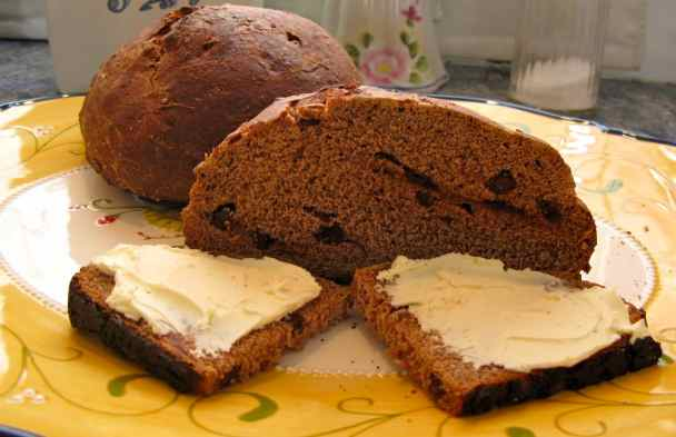 This light, fluffy bread with chocolate chips takes several hours to make because the dough needs to rise twice.