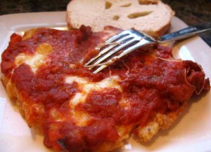 Chicken Parmesan is good as an entree or as a sandwich made with two slices of garlic toast.