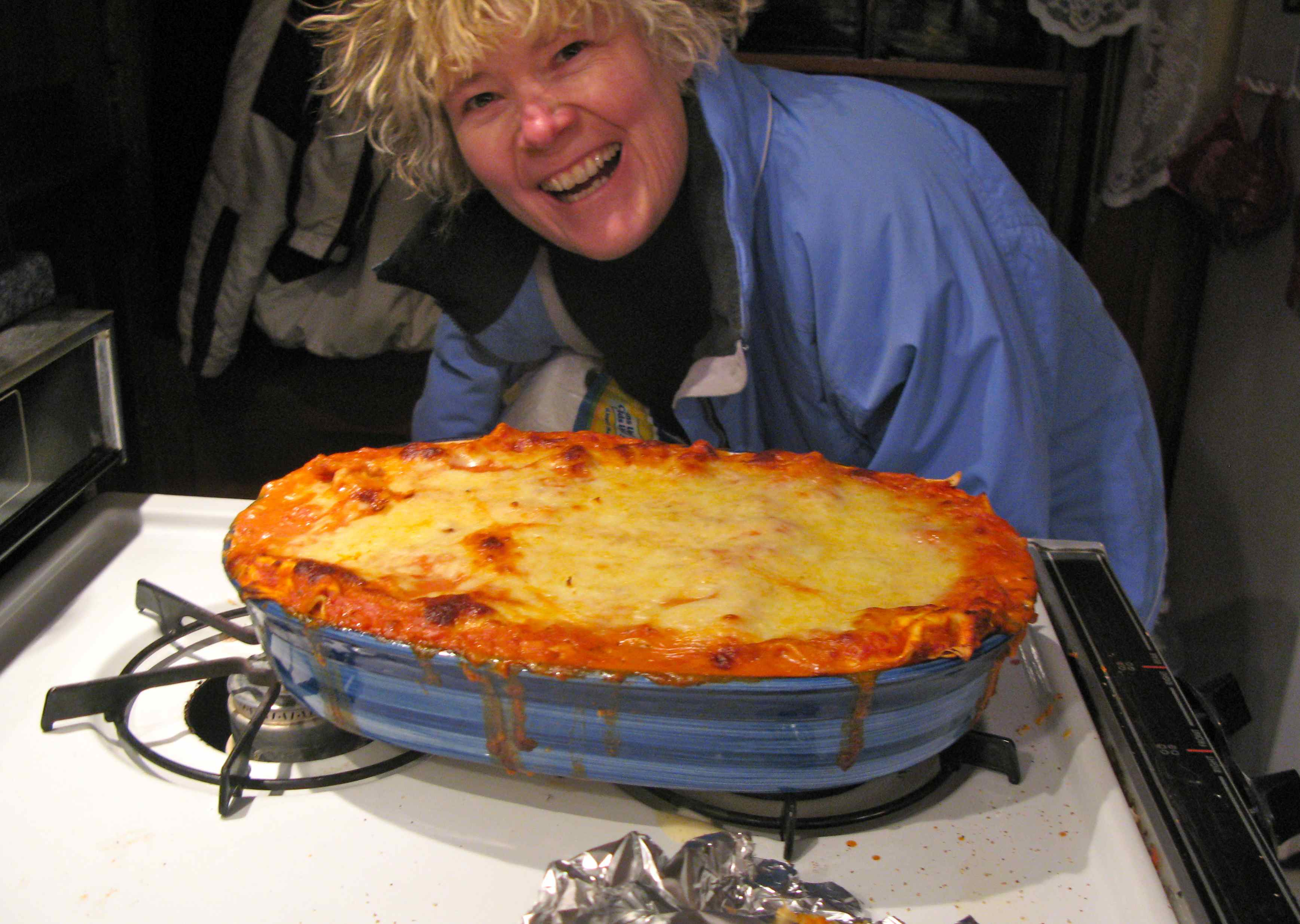 Tricia is thrilled to come home and find a masterpiece lasagna waiting for her on the RootsLiving stovetop.