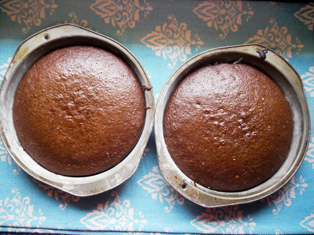 Two chocolate cakes.