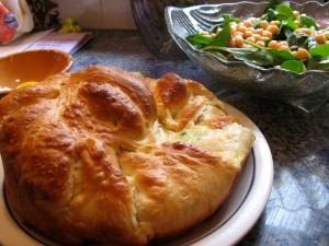 Khachapuri is easy to make but takes time as the dough has to rise twice.