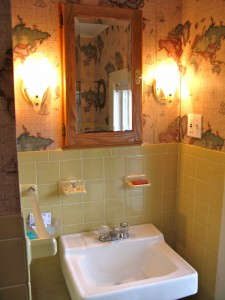 BEFORE: Wallpaper from the bargain bin at the Grossman's Outlet adorned the walls of the bathroom. Click photo to watch an audio slideshow of the new bathroom.