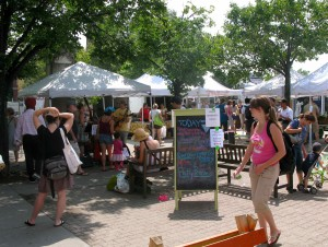 The Union Square Farmers Market on Saturday features several different farms, a fresh bread stand, and a live band.