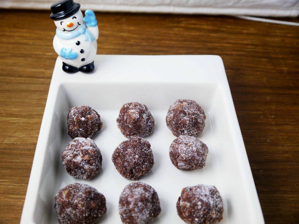 Rum balls in a snowman dish