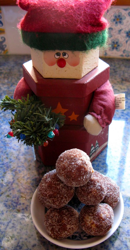 Santa ornament with rum balls