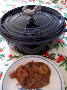 This Staub dutch oven is very heavy and very blue.