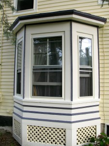 We used mulberry as the accent color on the bay window.