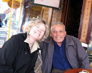 Trish with Chris at a cafe in Athens.