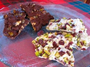 Colorful, tasteful, quick and easy chocolate bark.