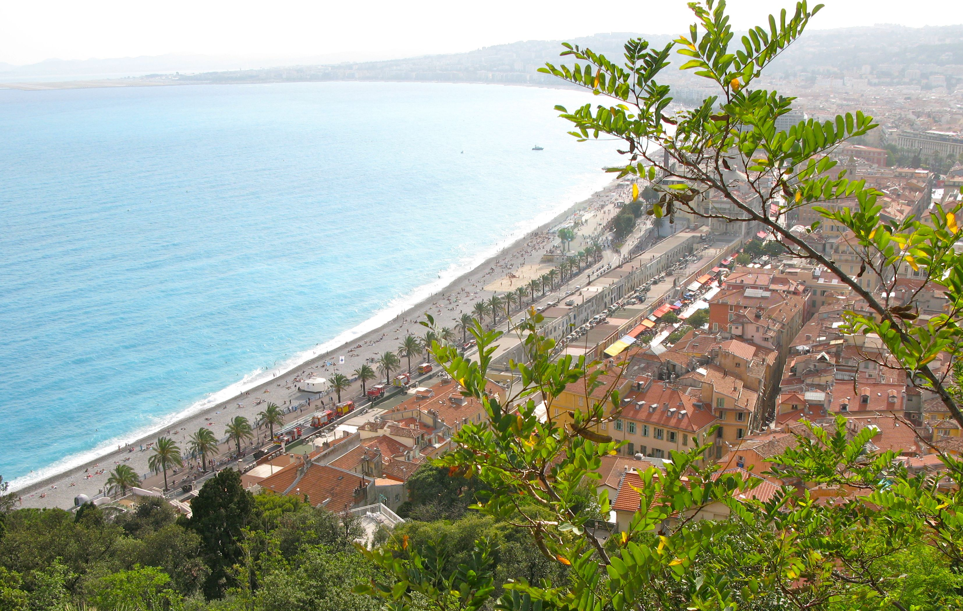 Aerial view of the beach in Nice