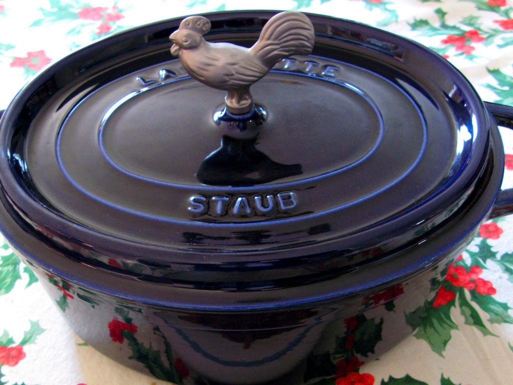A blue dutch oven