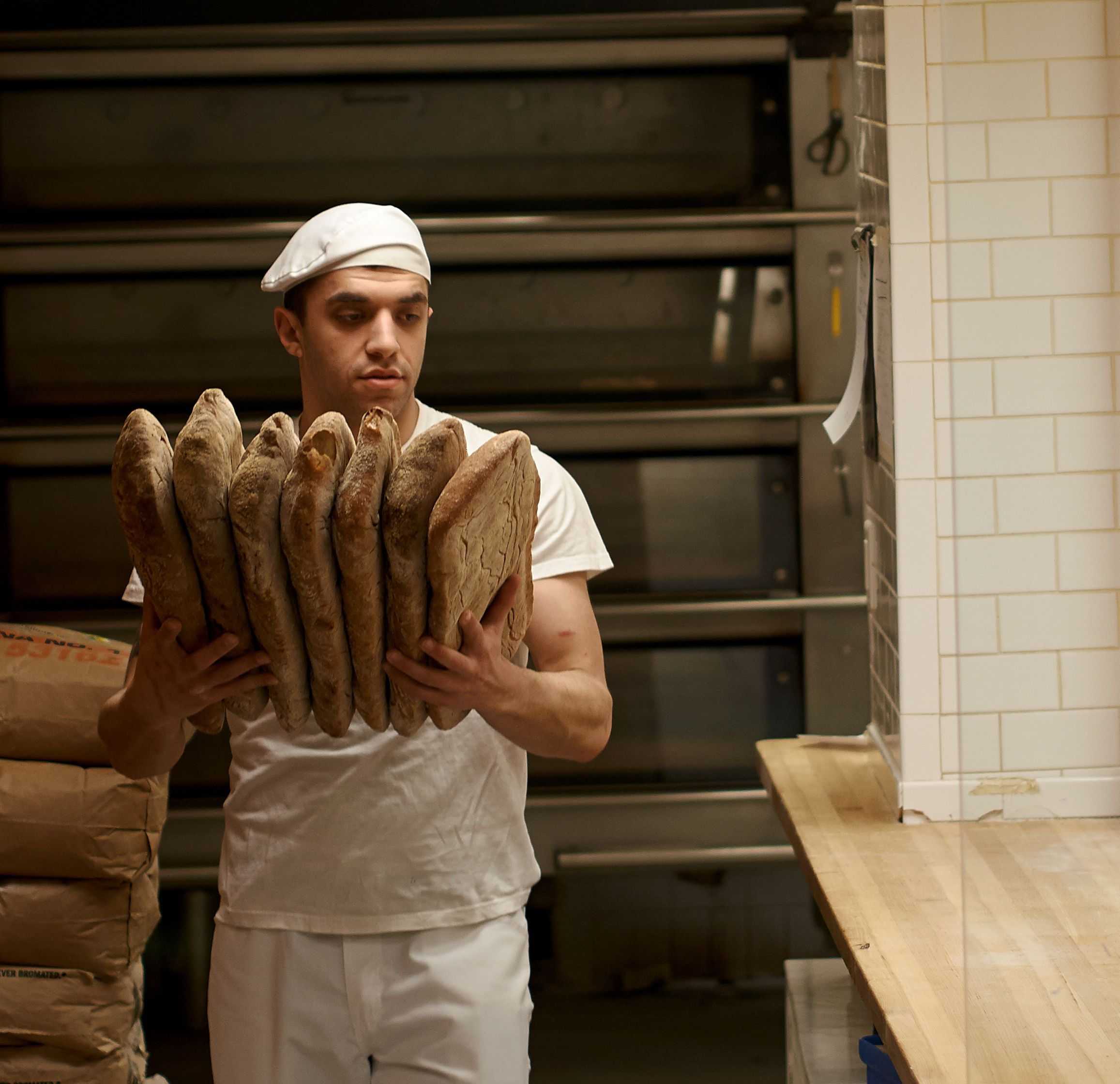Head baker and manager Ben Tock of Bricco Panetteria in Boston's North End.