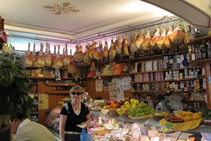 We didn't have to wait 50 years to try the real deal. Trish shops at a deli in Lucca during one of our trips to Italy.