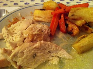 After browning the chicken I poured the grease into a baking dish and roasted potatoes, carrots, parsnips and apples for a side dish.