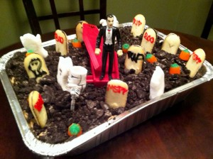 My brother, Pete, used a vampire from Burger King, owned by 3G Capital, to decorate this dessert.