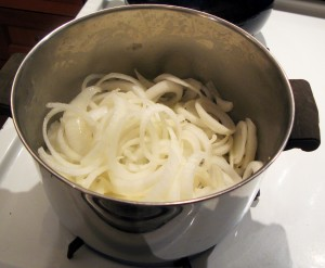 Stir the onions from time to time as they cook.