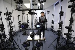 Yifei Zhang and his former studio in Malden, where he used 70 cameras to capture 3D images of his subjects. His new studio includes 90 digital cameras. (Pat Greenhouse Photo/Globe Staff)