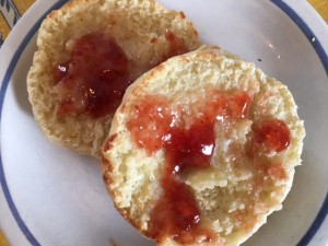 Warm, with melted butter and strawberry jam, I'm going to make these on a regular basis.