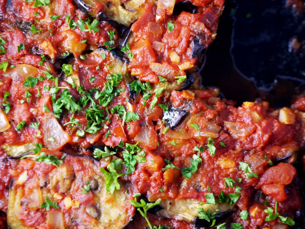 Eggplant dish in pan