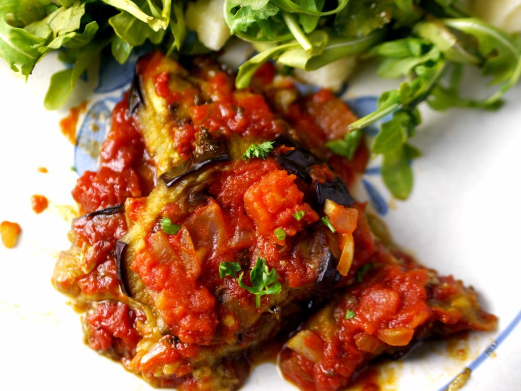 Turkish eggplant casserole with salad