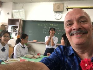 Selfie taken in a Japanese classroom.