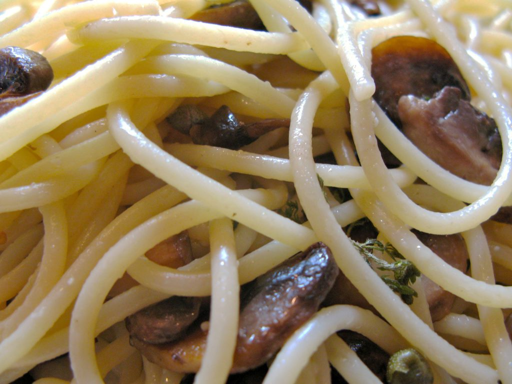 Closeup of spaghetti and mushrooms