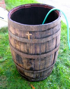 Wine barrel with a hose in it
