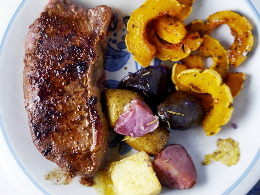 Delicato squash with steak and roasted potatoes.