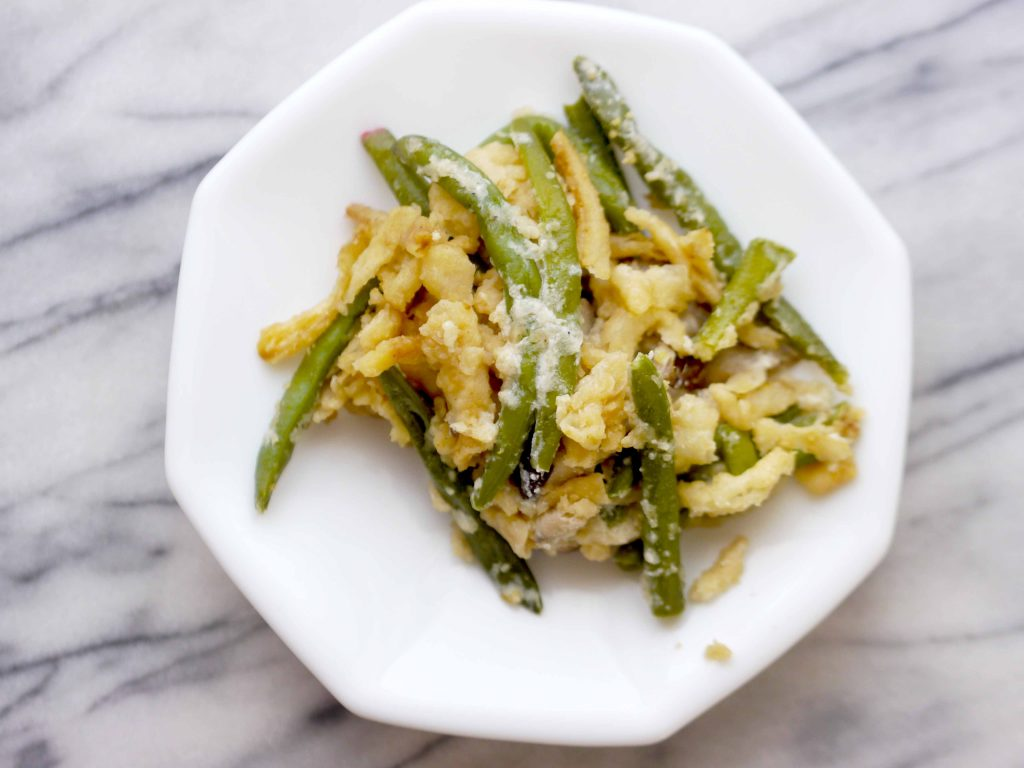 Green bean casserole on a white plate