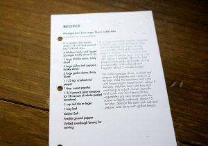 A recipe card