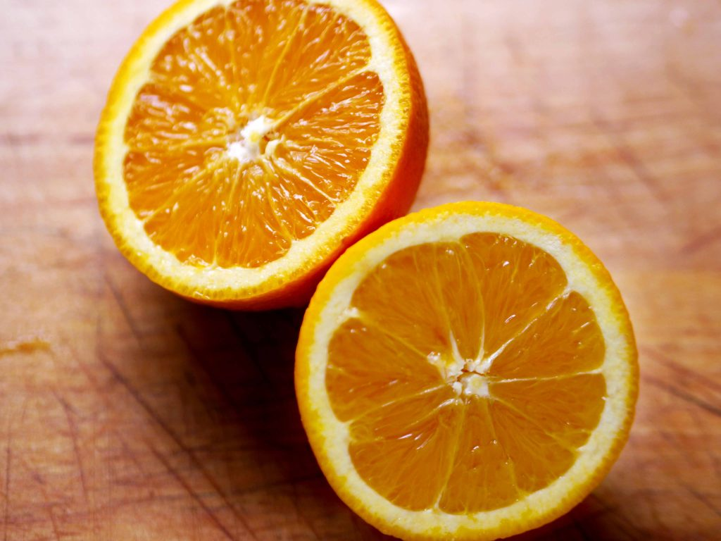Orange sliced in half