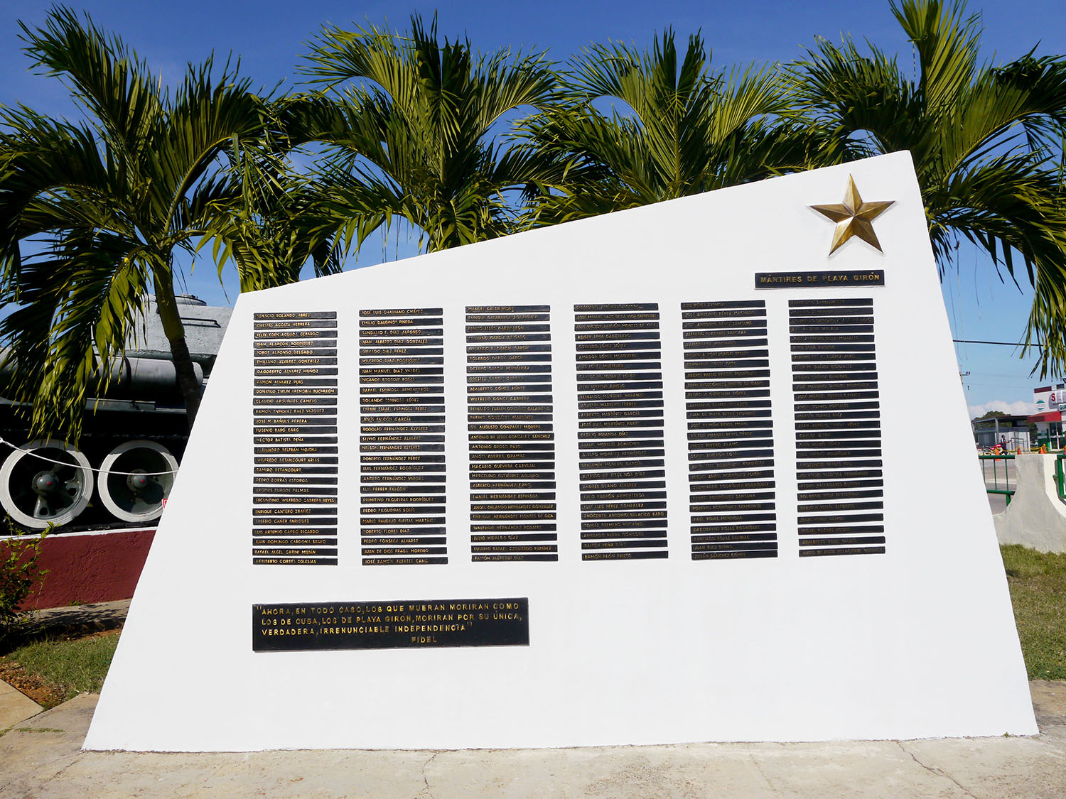 A memorial with a list of those who died.