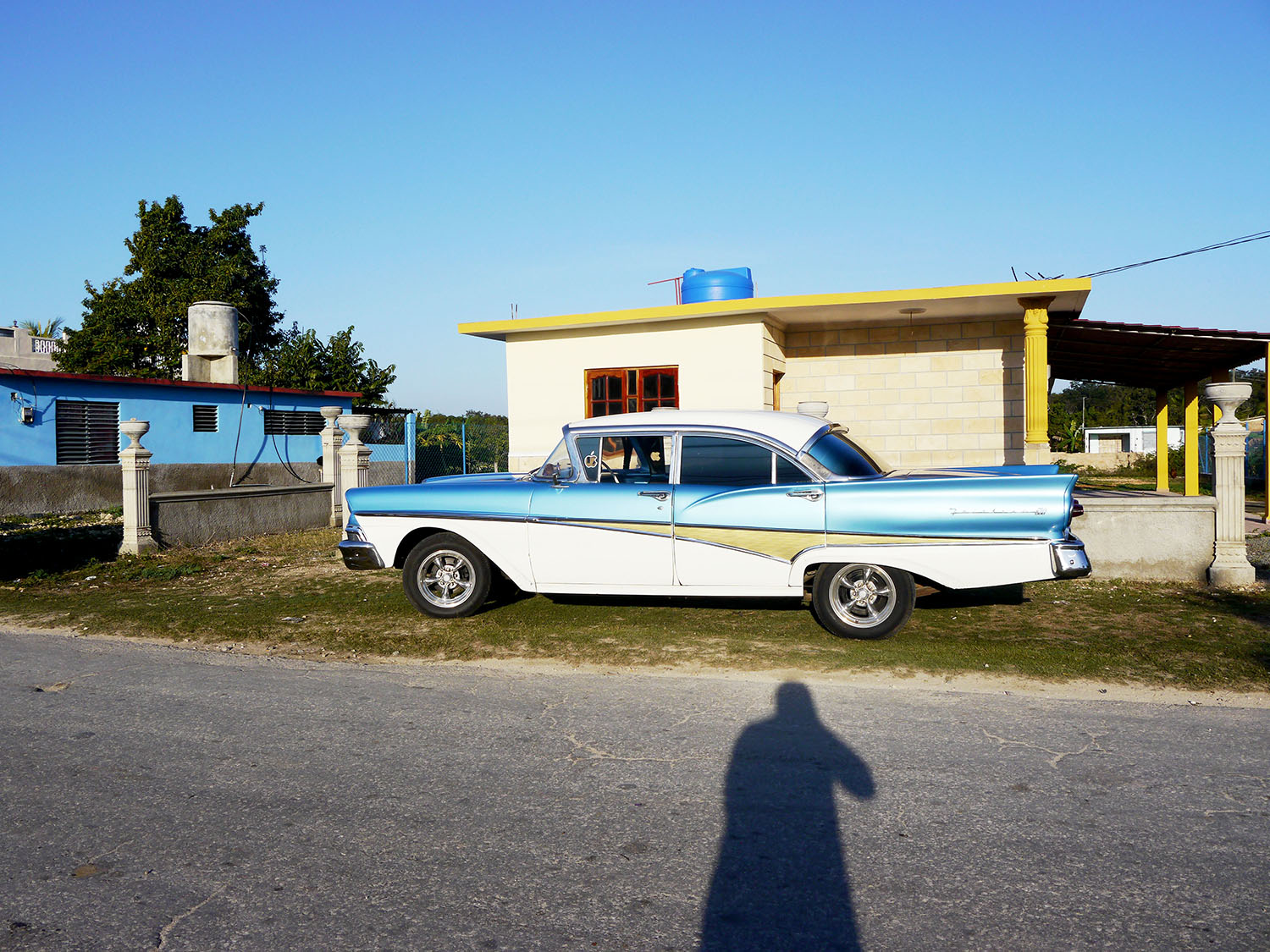 An American car from the 1950s with fins.