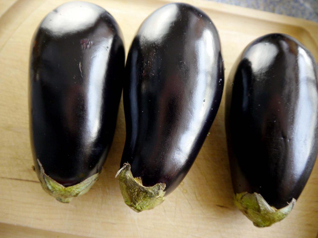Three eggplants.