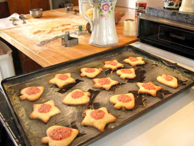 Cookies on a sheet right out of the oven