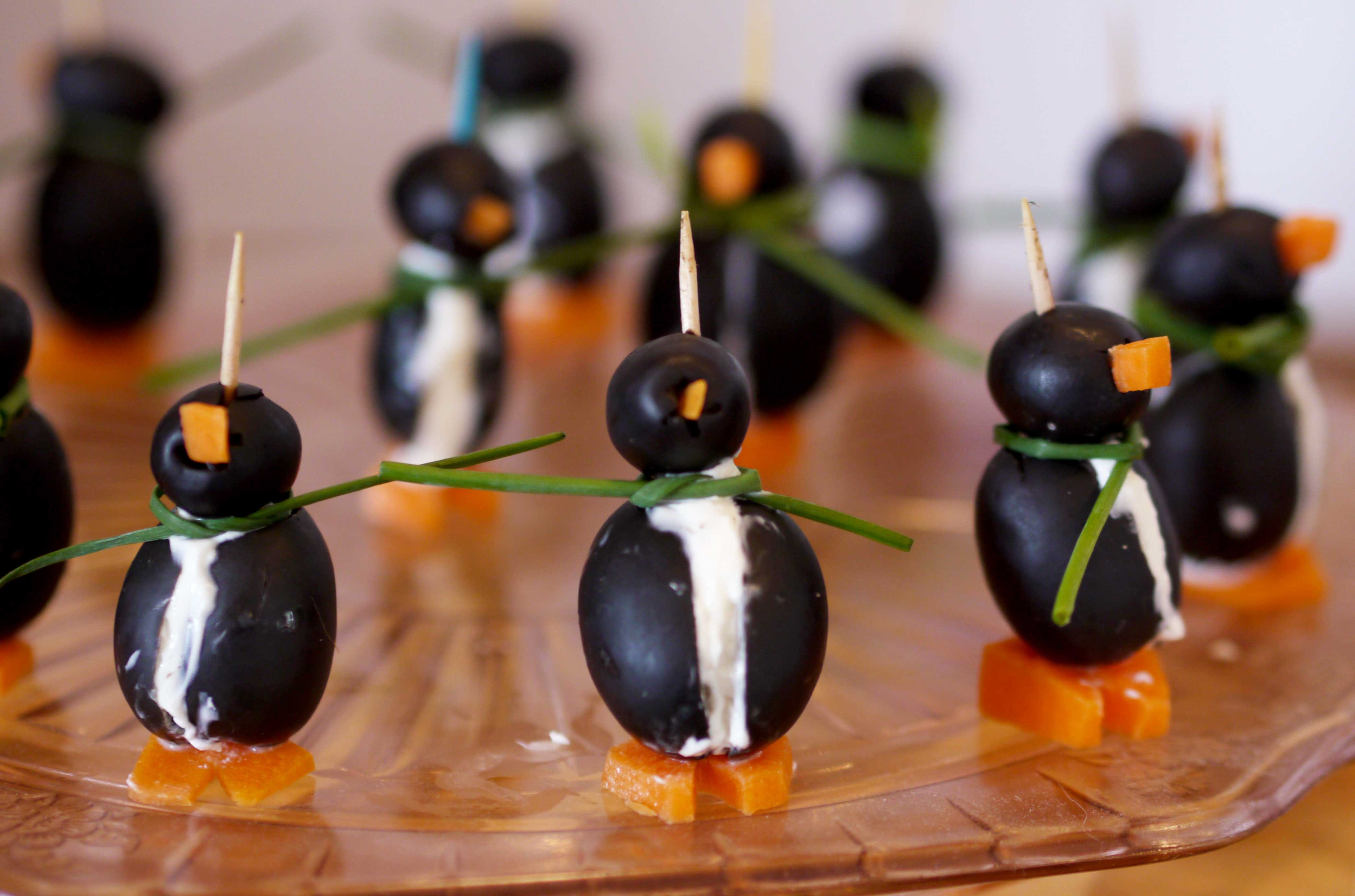 Penguins made out of olives